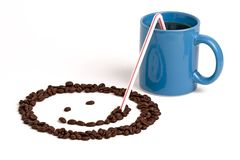 Smiley Face Sipping Coffee royalty-vrije stock foto