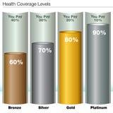 De Niveaus van de ziektekostenverzekeringdekking stock illustratie