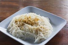De noedel van de rijst met knoflook Royalty-vrije Stock Fotografie