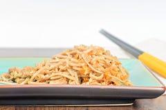 De noedels van China met groenten en vlees Stock Afbeeldingen