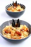 De noedels van Udon met zeevruchten Royalty-vrije Stock Foto's