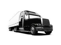 De noir camion semi sur le fond blanc Photographie stock