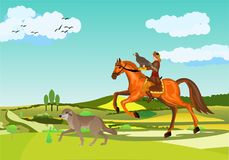 De nomade kazakh bij de jacht, adelaar de jachtscène, mens van de twee kazakEaglejager op paard, hond Royalty-vrije Stock Afbeeldingen