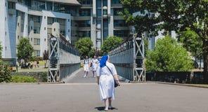 De nonnen lopen in de tuinen van het heiligdom van Lourdes stock foto