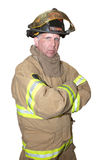 De Noodsituatie van de brandweerman redt Eerste Geïsoleerdt Antwoordapparaat stock foto