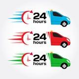 de noodsituatieauto van de 24 urendienst Auto 24 uren Blauwe, rode, groene noodsituatie/dringende auto Verschepende auto Levering Stock Foto