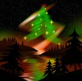 De noordelijke boom van lichtenKerstmis Royalty-vrije Stock Afbeeldingen