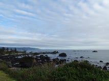 De noordelijke kustlijn die van Californië zuiden van Crescent City kijken stock afbeelding