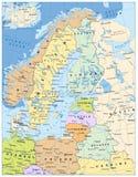 De noordelijke Politieke Kaart van Europa Stock Fotografie
