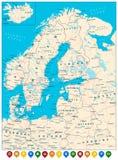 De noordelijke Wegenkaart van Europa en Kleurrijke Kaartwijzers Royalty-vrije Stock Afbeeldingen