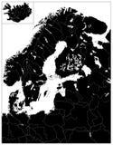 De noordelijke Zwarte Kaart van Europa GEEN tekst Stock Foto's