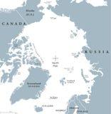 De noordpool Politieke Kaart van het Gebied vector illustratie