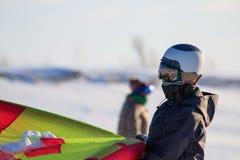 De noordpool Russische avonturen van de het Noordenexpeditie halen kamp voor exploratie, de sneeuw kiting, recreatie en pret van  stock afbeeldingen