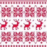 De noordse naadloze gebreide vector van het Kerstmispatroon stock illustratie