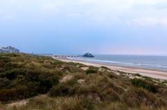 De Noordzee Blankenberge, Vlaanderen, België van pijlerduinen stock foto
