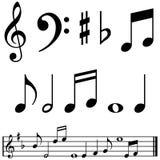 De nota's en de symbolen van de muziek Stock Afbeeldingen
