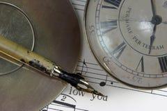 De nota's en de tijd van de muziek Royalty-vrije Stock Afbeelding