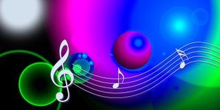 De nota's van de de muziekwereld van Internet Stock Foto