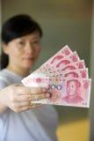 De nota's van de munt. RMB Stock Foto's