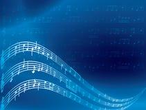 De nota's van de muziek - blauwe abstracte achtergrond Royalty-vrije Stock Foto's