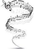 De nota's van de muziek die in een spiraal worden verdraaid Stock Foto's
