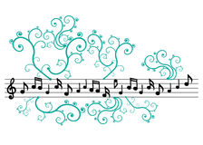 De nota's van de muziek met ornament Stock Afbeelding