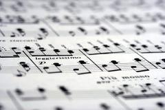 De Nota's van de muziek op papier Stock Fotografie