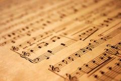De nota's van de muziek over grungedocument Stock Foto's