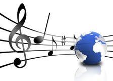 De nota's van de muziek over staven Royalty-vrije Stock Afbeelding