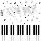 De nota's van de piano en van de muziek Stock Fotografie