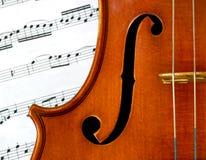 De nota's van de viool en van de muziek Stock Fotografie