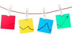 De nota's van het document met grafiek Stock Afbeeldingen