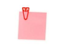 De nota van de herinnering met paperclip Stock Afbeelding