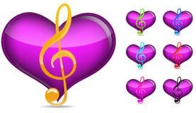 De nota van de muziek met hart royalty-vrije illustratie