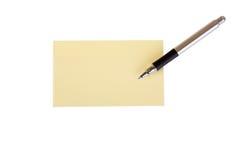 De nota van de post-it met pen - Herinnering Royalty-vrije Stock Foto's