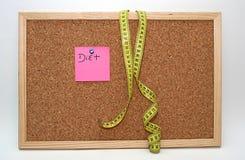 De nota van het dieet en metrische band Royalty-vrije Stock Fotografie