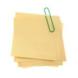 De nota van het document met groene klinknagel Stock Afbeeldingen