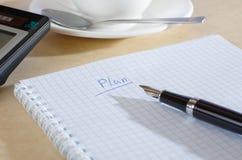 De nota van het plan Stock Foto