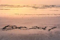 De nota van tot ziens 2017 in het zand wordt geschreven dat Stock Foto