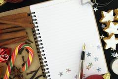 De notaboek van Kerstmis Stock Foto