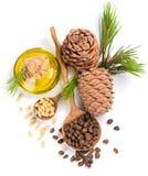 De noten van de cederpijnboom en olie, mening van hierboven Royalty-vrije Stock Foto