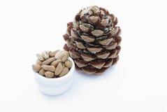 De noten van de pijnboom stock afbeeldingen
