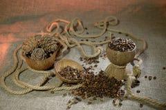 De noten van de pijnboom op jute stock fotografie