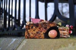 De notenfruit van de Kerstmiscake in openlucht Stock Foto