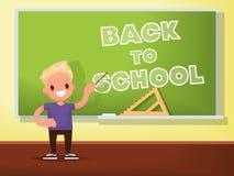 De nouveau à l'école Écolier au tableau noir Illustration de vecteur illustration libre de droits