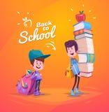 De nouveau à l'école Écolier deux mignon avec des approvisionnements Images stock