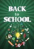 De nouveau à l'école de l'affiche et de la bannière et au fond vert pour l'éducation s'est rapporté Photo stock