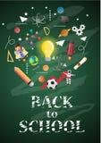 De nouveau à l'école de l'affiche et de la bannière et au fond vert pour l'éducation s'est rapporté Photographie stock libre de droits