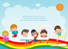 De nouveau à l'école, au concept d'éducation, aux livres de lecture d'enfant, à l'école d'enfant, au calibre pour la brochure de  illustration stock