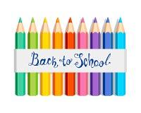 De nouveau à l'école Autocollant avec les crayons colorés illustration libre de droits